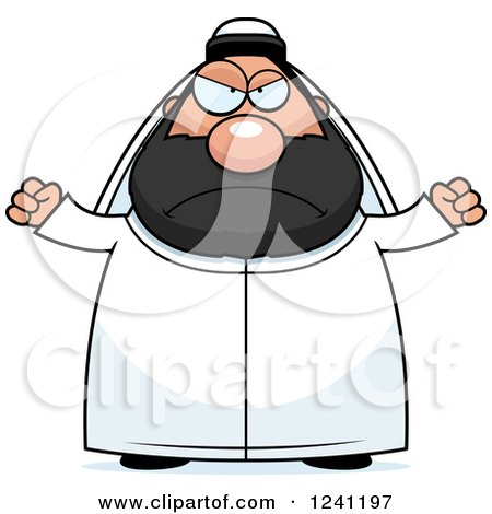 Clipart of a Mad Chubby Sheikh Waving His Fists - Royalty Free Vector Illustration by Cory Thoman