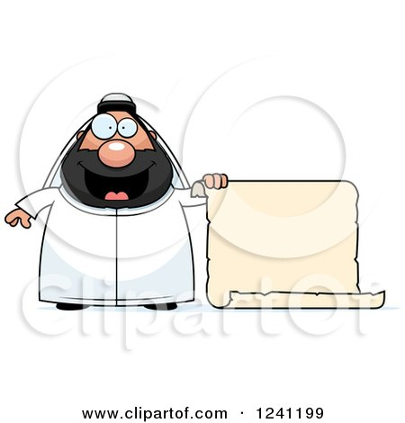 Clipart of a Chubby Sheikh with a Scroll Sign - Royalty Free Vector Illustration by Cory Thoman