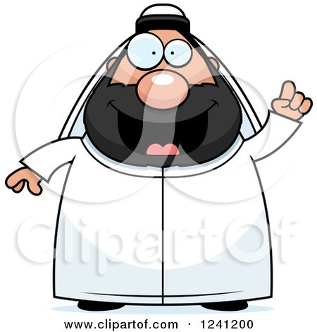 Clipart of a Chubby Sheikh with an Idea - Royalty Free Vector Illustration by Cory Thoman