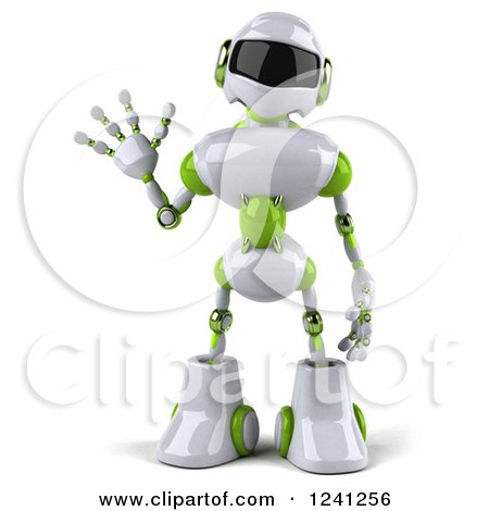 Clipart of a 3d White and Green Robot Waving - Royalty Free Illustration by Julos