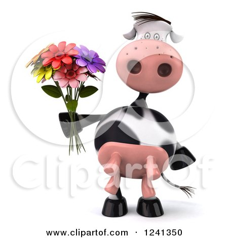 Clipart of a 3d Cow Holding a Bouquet of Flowers - Royalty Free Illustration by Julos