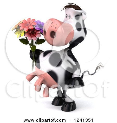 Clipart of a 3d Cow Holding a Bouquet of Flowers 2 - Royalty Free Illustration by Julos