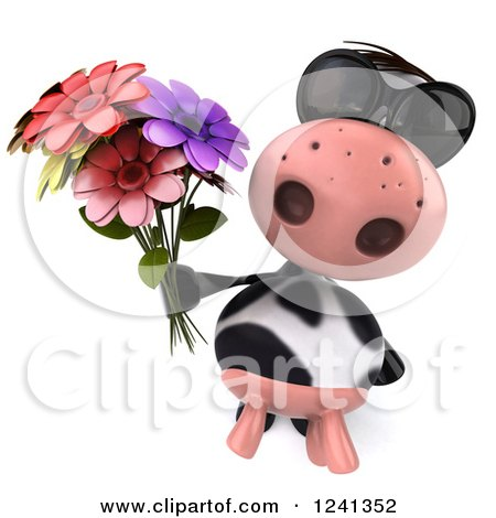 Clipart of a 3d Cow Wearing Sunglasses and Holding a Bouquet of Flowers - Royalty Free Illustration by Julos