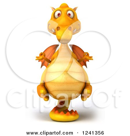Clipart of a 3d Yellow Dragon Meditating - Royalty Free Illustration by Julos