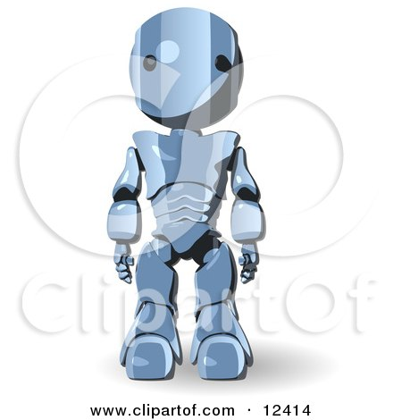 Blue Metal Robot Standing With His Arms at His Side Clipart Illustration by Leo Blanchette