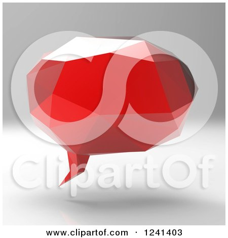 Clipart of a 3d Red Geometric Speech Bubble - Royalty Free Illustration by Julos