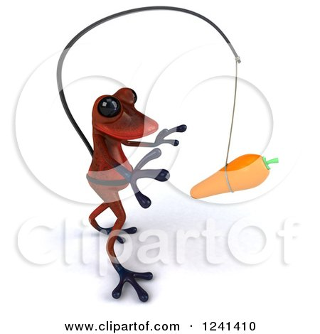 Clipart of a 3d Red Springer Frog Chasing a Carrot on a Stick 2 - Royalty Free Illustration by Julos
