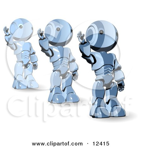 Three Blue Metal Robot Waving Clipart Illustration by Leo Blanchette
