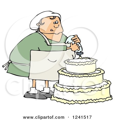 Clipart of a Chubby White Baker Chef Woman Frosting a Wedding Cake - Royalty Free Illustration by djart