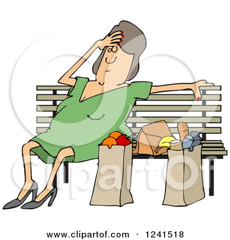 Clipart of a Tired White Woman Resting on a Bench by Grocery Bags - Royalty Free Vector Illustration by djart
