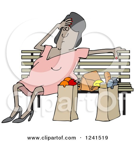 Clipart of a Tired Black Woman Resting on a Bench by Grocery Bags - Royalty Free Vector Illustration by djart