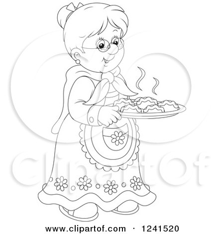 Clipart of a Black and White Happy Granny with Fresh Baked Rolls - Royalty Free Vector Illustration by Alex Bannykh