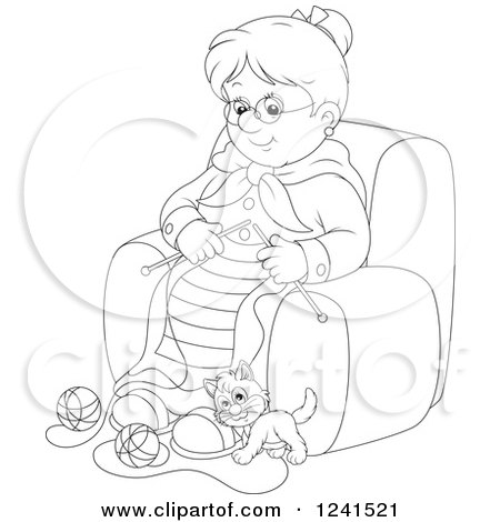 Clipart of a Black and White Happy Granny Knitting While a Kitten Plays with Yarn - Royalty Free Vector Illustration by Alex Bannykh