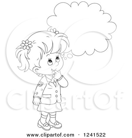 Clipart of a Thinking Black and White Caucasian School ...
