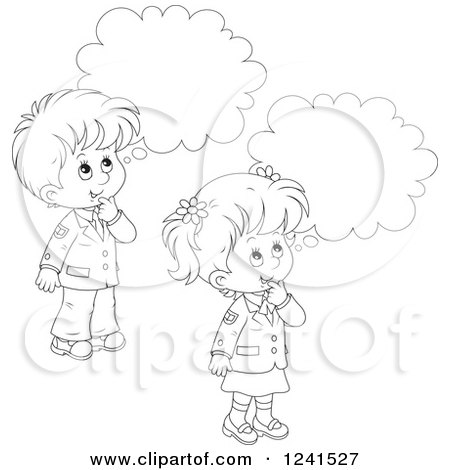Clipart of Black and White Thinking School Children ...