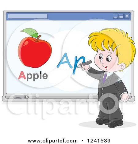 Clipart of a Blond School Boy Spelling Apple on a White Board - Royalty Free Vector Illustration by Alex Bannykh