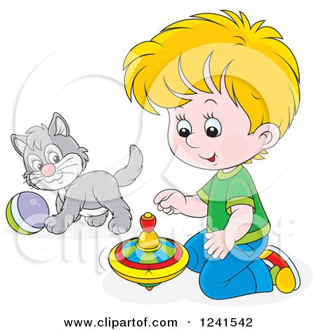 Clipart of a Blond Caucasian Boy Playing with a Spinner and Kitten - Royalty Free Vector Illustration by Alex Bannykh