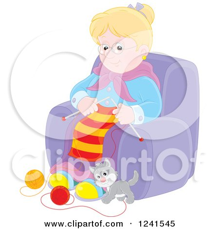Clipart of a Happy Blond Caucasian Granny Knitting While a Kitten Plays with Yarn - Royalty Free Vector Illustration by Alex Bannykh
