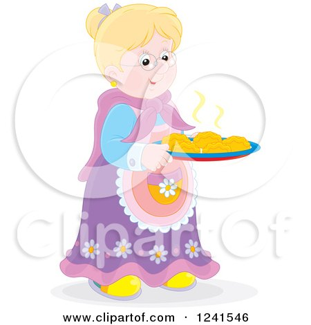 Clipart of a Happy Blond Granny with Fresh Baked Rolls - Royalty Free Vector Illustration by Alex Bannykh