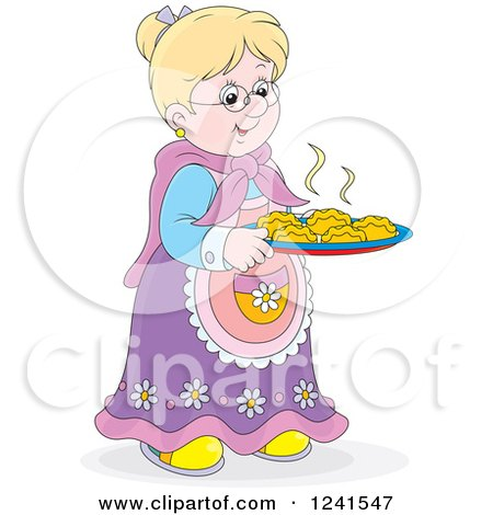 Clipart of a Happy Blond Caucasian Granny with Fresh Baked Rolls - Royalty Free Vector Illustration by Alex Bannykh