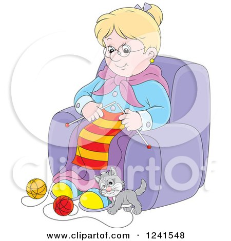 Clipart of a Happy Blond Granny Knitting While a Kitten Plays with Yarn - Royalty Free Vector Illustration by Alex Bannykh
