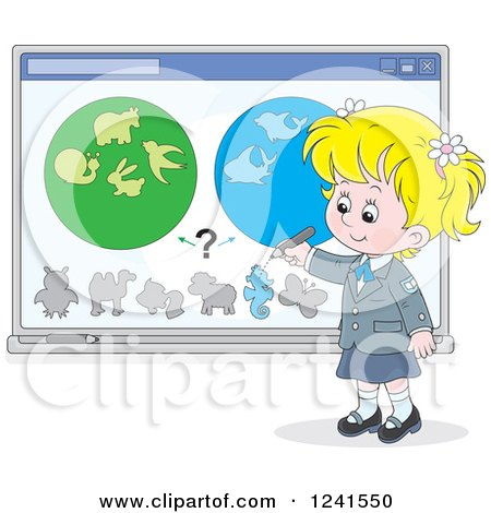 Clipart of a Blond School Girl Doing a Biology Study - Royalty Free Vector Illustration by Alex Bannykh