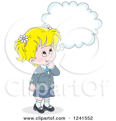 Clipart of a Thinking Blond Caucasian School Girl 2 - Royalty Free Vector Illustration by Alex Bannykh
