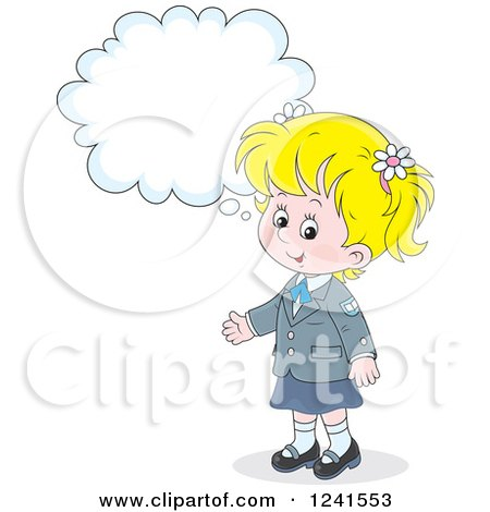 Clipart of a Thinking Blond Caucasian School Girl 4 - Royalty Free Vector Illustration by Alex Bannykh