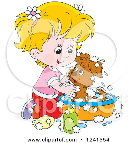 Clipart of a Blond Girl Washing a Puppy in a Tub - Royalty Free Vector Illustration by Alex Bannykh