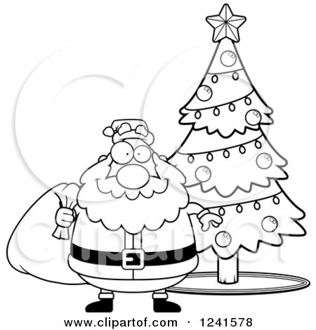 Clipart Of A Black And White Happy Christmas Tree Character In 8 Bit