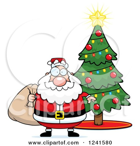 Clipart of a Jolly Santa with a Christmas Sack by a Tree - Royalty Free Vector Illustration by Cory Thoman