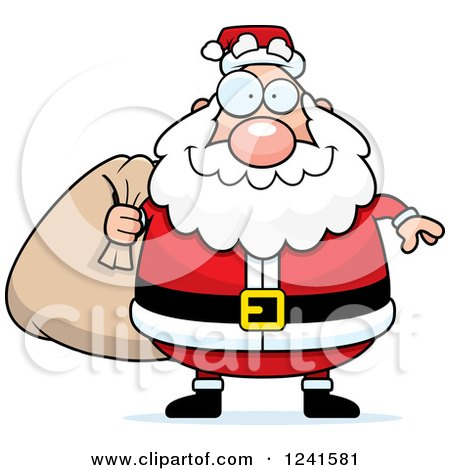 Clipart of a Jolly Santa Carrying a Christmas Sack - Royalty Free Vector Illustration by Cory Thoman