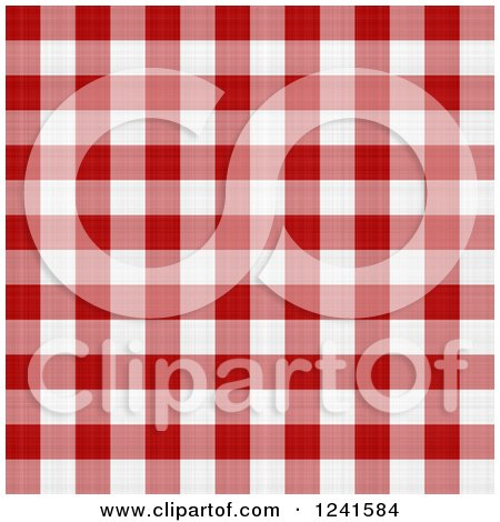 Clipart of a Seamless Background Pattern of Red and White Plaid Tablecloth - Royalty Free Illustration by Arena Creative