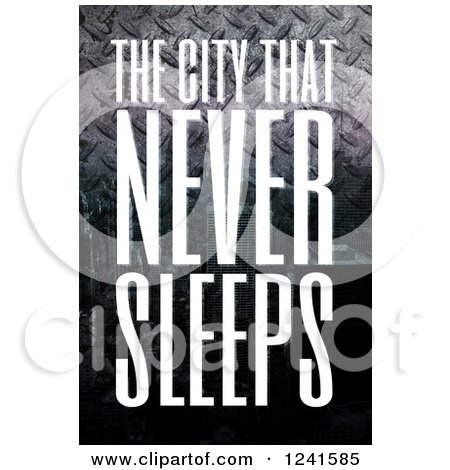 Clipart of the City That Never Sleeps New York Text over Diamond Plate Metal - Royalty Free Illustration by Arena Creative