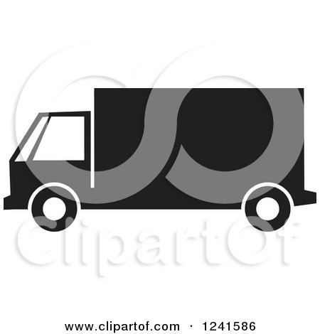 Clipart of a Black and White Big Rig or Delivery - Royalty Free Vector Illustration by Johnny Sajem