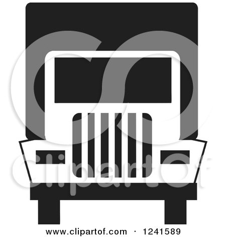 Clipart of a Black and White Big Rig Truck Front - Royalty Free Vector Illustration by Johnny Sajem