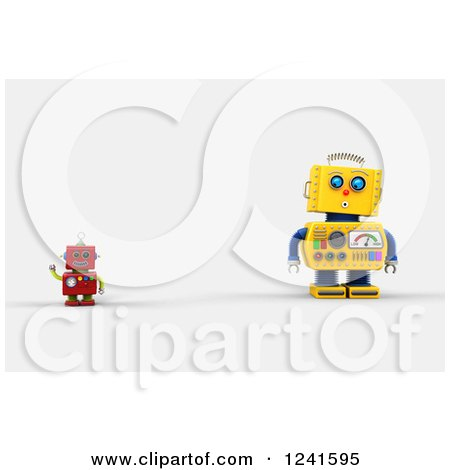 Clipart of a 3d Surprised Yellow Robot Looking at a Smaller Waving Red One - Royalty Free CGI Illustration by stockillustrations