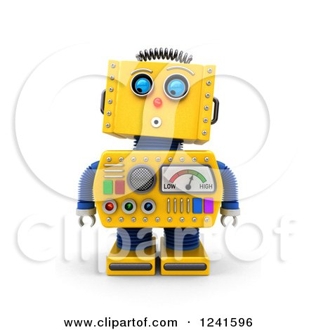 Clipart of a 3d Surprised Yellow Retro Robot Looking down - Royalty Free CGI Illustration by stockillustrations