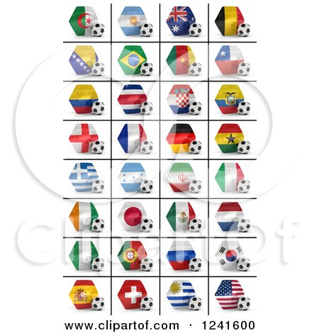 Clipart of 3d World Championship National Flags and Soccer Balls on a White Background - Royalty Free CGI Illustration by stockillustrations