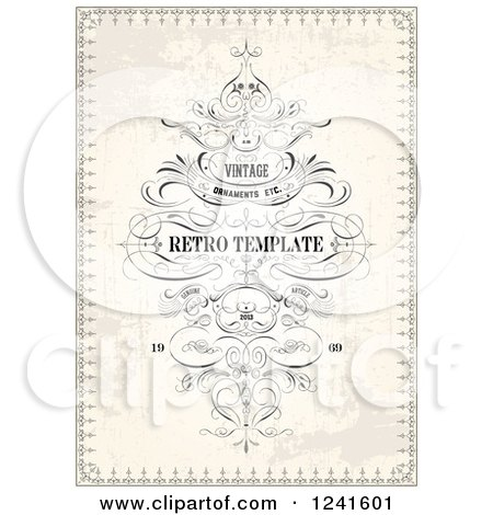 Clipart of a Vintage Distressed Invitation Background with Sample Text - Royalty Free Vector Illustration by BestVector