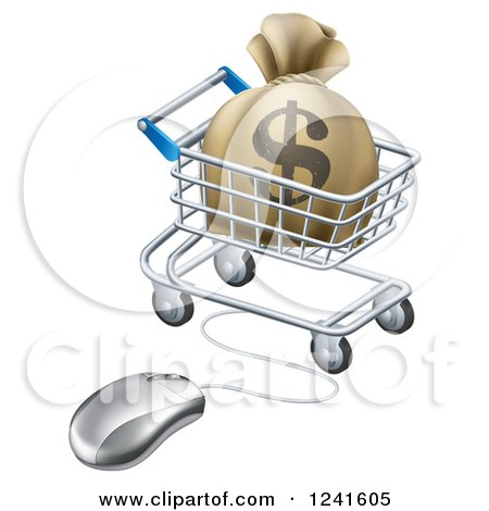 Clipart of a 3d Dollar Money Bag in a Shopping Cart Wired to a Computer Mouse - Royalty Free Vector Illustration by AtStockIllustration