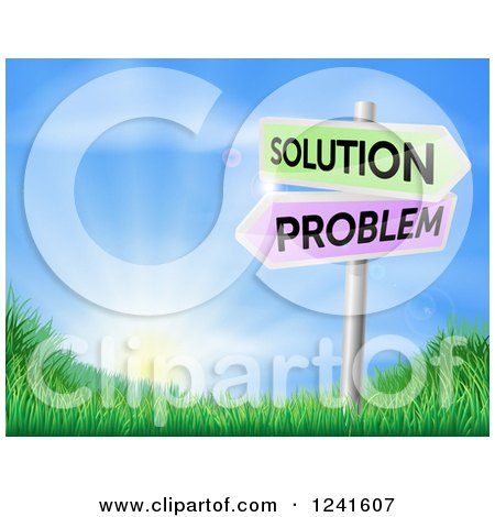 Clipart of 3d Solution and Problem Arrow Signs over a Sunrise on a Grassy Hill - Royalty Free Vector Illustration by AtStockIllustration