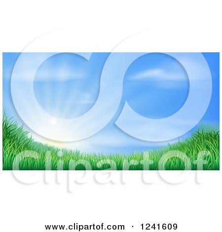 Clipart of a Sun Rising over a Grassy Landscape Against a Blue Sky - Royalty Free Vector Illustration by AtStockIllustration