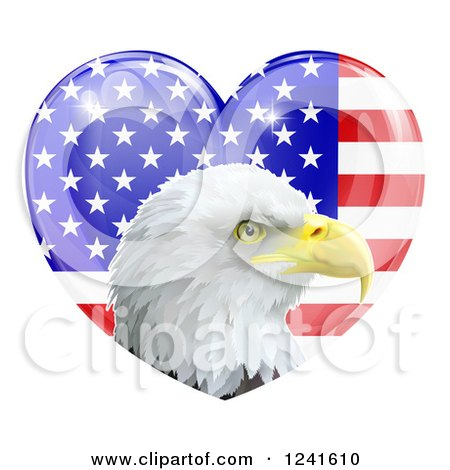 Clipart of a Bald Eagle Head over a Shiny American Flag Heart - Royalty Free Vector Illustration by AtStockIllustration