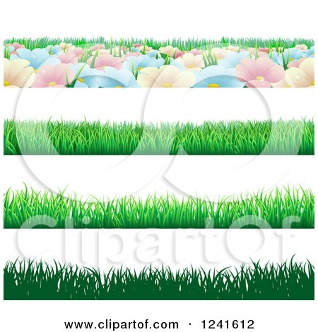 Clipart of Seamless Grass and Flower Website Header Borders - Royalty Free Vector Illustration by AtStockIllustration