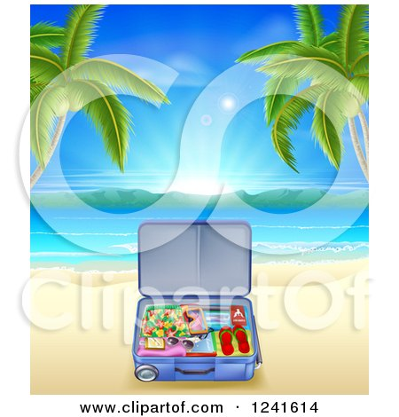 Clipart of a Travel Suitcase on a Tropical Becah with Palm Trees - Royalty Free Vector Illustration by AtStockIllustration