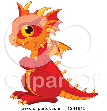 Clipart of a Cute Red and Orange Baby Dragon - Royalty Free Vector Illustration by Pushkin
