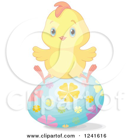 Clipart of a Cute Easter Chick Sitting on a Floral Egg - Royalty Free Vector Illustration by Pushkin