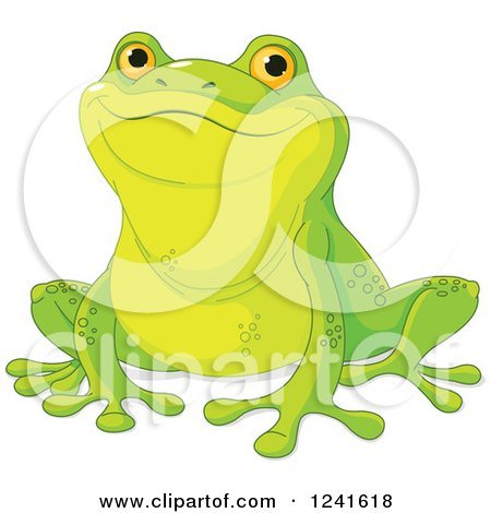 Clipart of a Proud Cute Green Frog - Royalty Free Vector Illustration by Pushkin