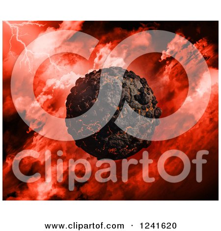 Clipart of a 3d Volcanic Planet over a Red Stormy Sky - Royalty Free Illustration by KJ Pargeter